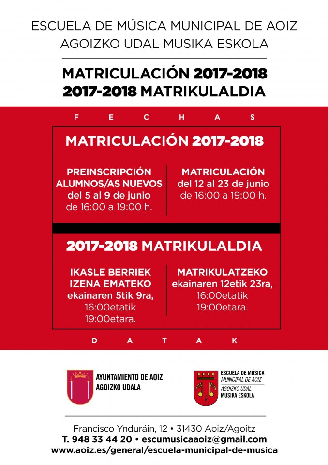 cartel pre y matricula